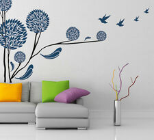 Wall Stickers Tree in Round Shape Blue Colour Home Modern Art with Birds