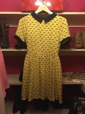 Authentic Japanese Gyaru Rojita Yellow Navy Bow Print Collared Dress Size S