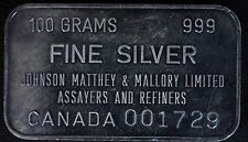VERY RARE Johnson Matthey 100 Gram .999 Silver Bar Mallory Limited Canada