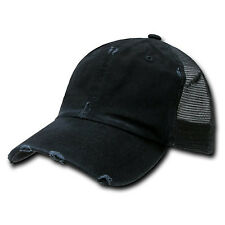 Black Vintage Distressed Mesh Trucker Baseball Cap Caps Hat Snapback Snap Back