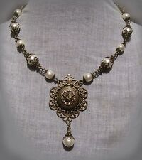 BRASS FILIGREE ROSE LOCKET WHITE GLASS PEARL NECKLACE RENAISSANCE VICTORIAN