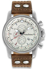 Tommy Bahama TB1294 White Dial Brown Leather Strap Chronograph Men's Watch