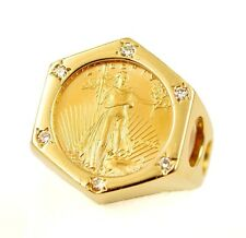 1996 US $5 American Gold Eagle 1/10 oz Coin in Large 14k Diamond Ring Bezel 12g