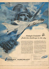 1956 aircraft AD Chance Vought F8U-1 Crusader Navy Fighter great Art ! 052116