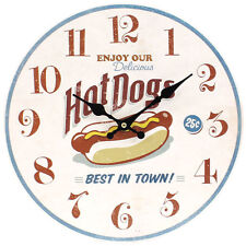 Round Wooden Retro Style Hot Dogs Wall Clock American Diner Kitchen Decor