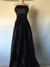 Bill Whitten Design Custom Black Satin Ballroom Evening Gown $ Dress + Shawl XS