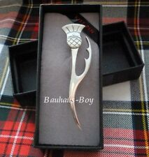 KILT PIN MODERN CONTEMPORARY THISTLE LEAF SOLID PEWTER MADE IN SCOTLAND KILTS