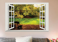 DIY Large 3D Garden Bench View Window Wall Sticker Vinyl Art Mural Bedroom Decor
