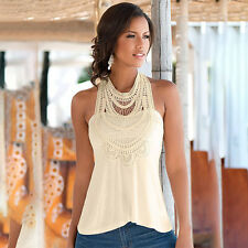 Sexy Womens Summer Lace Vest Tops Casual Sleeveless T-shirts Tunic Blouse Tank