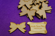 15 x Bow Ribbon 5cm/50mm Craft Embellishment MDF Laser cut wooden shape