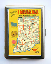 Greetings From Indiana Cigarette Case Business Card Holder state map hooisers