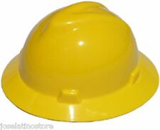 MSA YELLOW Full Brim (SLOTTED) V-Gard Safety Hard Hat Ratchet Susp Fast Ship!