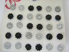 15 Pairs Black Clear Color Flower Metal Post Earrings KT17