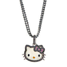 Kimora Lee Simmons Hello Kitty Black Diamond Necklace in 925 Sterling Silver