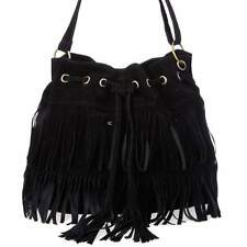 Fashion Women Fringe Tassel Shoulder Bag Crossbody Bag Messenger Handbag Black