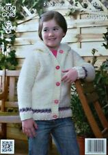 KNITTING PATTERN Childrens Long Sleeve Hooded Jacket Super Chunky King Cole 3821