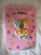 Sweetheart Necklace New Candy Hearts Pendant Gold Tone Chain Valentine's Day