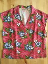 Tommy Bahama women's blouse size 14 pink silk floral Hawaiian side buttons