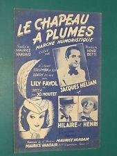 """Partition Chant """"Le chapeau à plumes"""" Henri BETTI Maurice VANDAIR"""