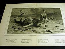 Louis Edouard Fournier SON of the GAUL w POEM Boy w Sword 1886 Large Folio Print