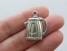 8 Coffee pot charms antique silver tone FD67