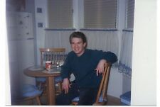 Vintage Photo Handsome Young Man Sitting In Kitchen, 1990's,  Sep