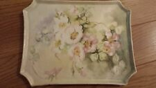 Limoges Platter Tray W. G. & CO. FRANCE SIGNED S.L.H. Cream Green and Pink