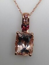 New 10K Rose Gold Cushion Cut Morganite Garnet and Pink Tourmaline Pendant