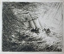 David Charles Read (1790-1851) Etching- Christ in a Storm 1829. Seascape.