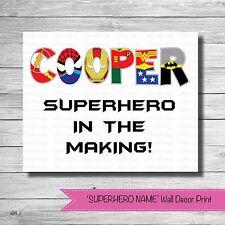Personalised 'SUPERHERO NAME' Nursery Wall Decor Print {NEW}