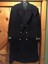 Vintage FDNY New York Fire Department Long Wool Coat Merson Uniforms Navy Blue