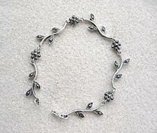 Dainty Genuine Silver & Marcasite Linked Flowers Bracelet