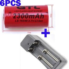 6X CR123A CR 123 A 16340 2300mAh Rechargeable Li-Ion Battery + US Charger