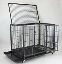 """New 43"""" Heavy Duty Metal Dog Pet Kennel Cage Crate w Casters, Floor Grid, Tray"""