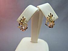 Solid 14k Gold Diamond Cut Earrings Rose Gold Flowers 2.29g Leaf Detail Estate