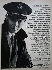 1968 PUB TWA AIRLINE COMMANDANT DE BORD PILOT PILOTE ORIGINAL FRENCH AD