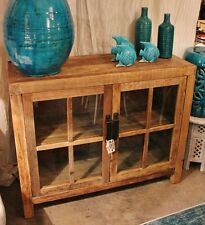 NEW Small Rustic Recycled Elm Timber Sideboard, Natural, 2 Glass Doors 110cm (L)
