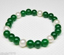 """Noble white 8-9MM pearl with green Jade 8MM bracelet 7.5"""""""