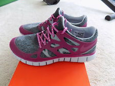 NIKE FREE RUN+ 2 DB WOMENS DARK GREY PURPLE LACE FREEDOM 10 FLASH SHOES 437527