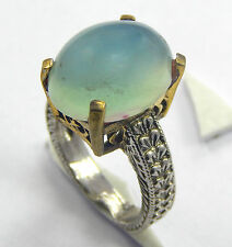 925 SILVER PLATED!! AWESOME CHALCEDONY RING TURKISH STYLE JEWELRY SIZE 5.5 US