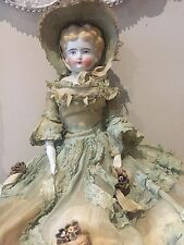 ANTIQUE VICTORIAN GERMAN PORCELAIN HEAD DOLL DRESS BONNET APPLIED FLOWERS