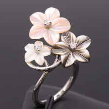 Flower Shell 18K White Gold Plated Ring Women Fashion Jewelry size 6 NEW