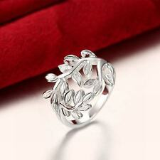 925 Silver Plated Simple European Hollow Plants Leaf Ring Women Jewelry Gifts