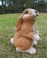 HAND PAINTED LONG EAR BUNNY RABBIT CEMENT TAN & WHITE STATUE