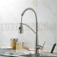New Brushed Nickel Kitchen Bar Spray Faucet Tap Mixer Coil Spring Sink KPF004BN