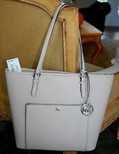 Michael Kors Jet Set Saffiano LARGE SNAP Cement Grey Pocket Tote NEW NWT $228