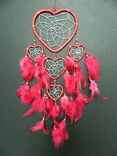 RED AND SILVER HEART DREAM CATCHER WEDDING VALENTINES GIFT DREAMCATCHER UK