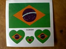BRAZIL BRAZILIAN FLAG TEMPORARY TATTOOS (BRAND NEW) 60mm X 60mm