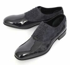 Mens BRIONI Night Guy Navy Patent Leather Formal Oxfrod Tuxedo Shoes 9 1/2 NIB