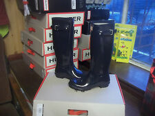 NAVY BLUE GLOSS HUNTER WELLINGTONS WELLIES IN HALIFAX SIZE 7 LADIES TALL
